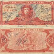 1989. Подписанная купюра в три песо