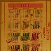 1991. Армейский календарик.