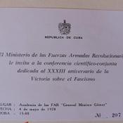1978-05-04. Приглашение в Академию ВС им. генерала Максимо Гомеса на научную конференцию, посвященную 32-й годовщине победы над фашизмом