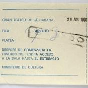 1990-04-28. Билет в Gran Teatro de la Habana. Место 93.