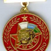 Знак нагрудный «Distintivo XX aniversario de la Union de Jovenes Comunistas» («20-летие Союза молодых коммунистов») Шарапова Виктора Фроловича. 1982 г. Республика Куба.