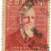 Марка почтовая. Хуан Баутиста Споторно, президент кубинских повстанцев. 1960-е гг. Республика Куба.