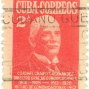 Марка почтовая. Полковник Чарльз Эрнандес, директор по коммуникациям Республики Куба. 1960-е гг. Республика Куба.