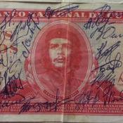 1984. Купюра в три песо с подписью комендачей и связистов в Касабланке