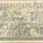 373. Купюра 1 песо с подписями, оборот