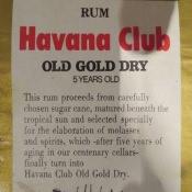 Этикетка от бутылки рома   «Habana Club», 1979, оборот