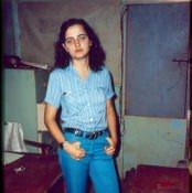 104. 1982-1984. Фото 01. Инна Леонова. В офисе-бытовке.