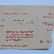 1977-1979. Билет в театр «Гарсия Лорка», центр Гаваны, рядом с Капитолием