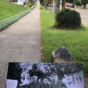 452. 2019-10-ХХ. Обозначение улицы на фоне снимка 1978-1979 годов