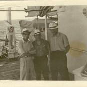 Шарапов Виктор Фролович (в центре) с коллегами на теплоходе «Грузия». СССР. 1961 г.