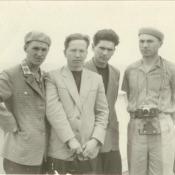 Шарапов Виктор Фролович (2-й слева) на палубе теплохода «Грузия» с коллегами. СССР. 1961 г.