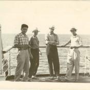 Попов Геннадий Александрович (1-й слева), Шарапов Виктор Фролович с коллегами на теплоходе «Грузия».