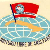 Наклейка «Cuba territorio libre de  analfabetismo» (Куба - территория свободная от неграмотности). 1961 г. Республика Куба.