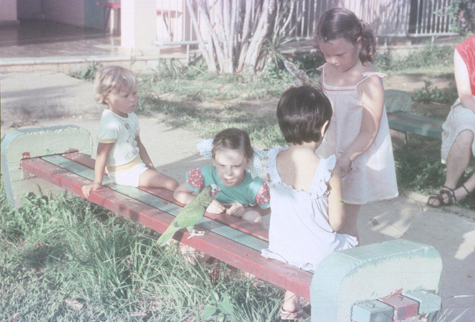 1985-1988. На скамейке, с ручным попугаем