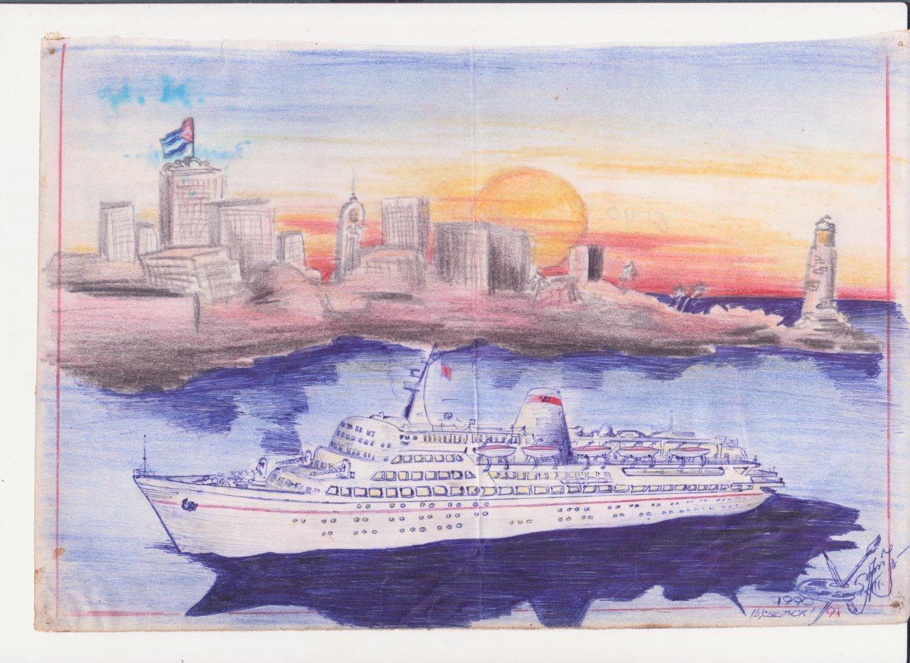 1992 - Теплоход «Иван Франко» - рисунок
