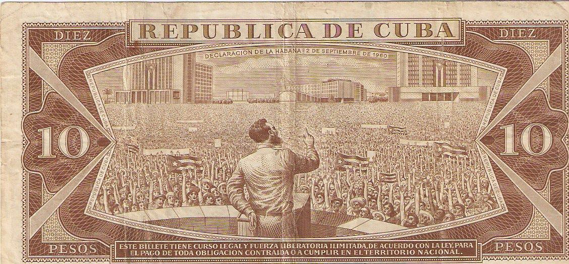 405. 1987. Купюра номиналом в 10 песо. Оборот.