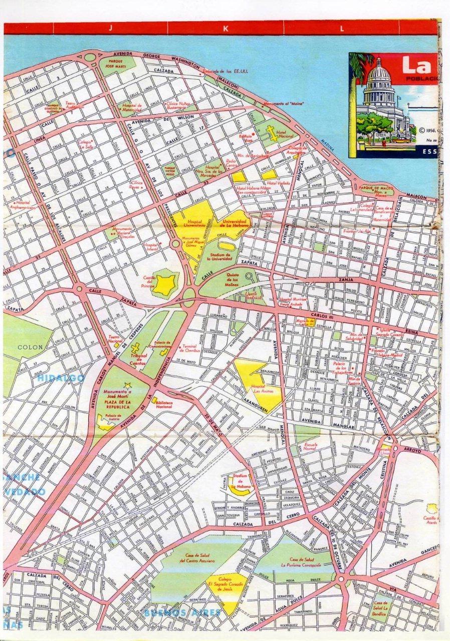 499. 1956. Карта Кубы и Гаваны. 1 лист, 3 фрагмент