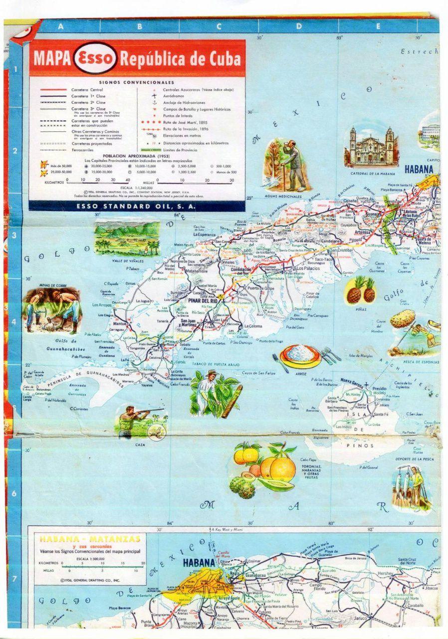 505. 1956. Карта Кубы и Гаваны. 2 лист, 1 фрагмент