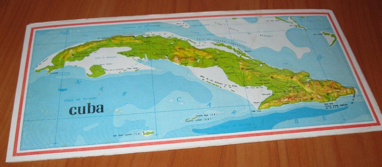 Открытка с картой Кубы. Титул.
