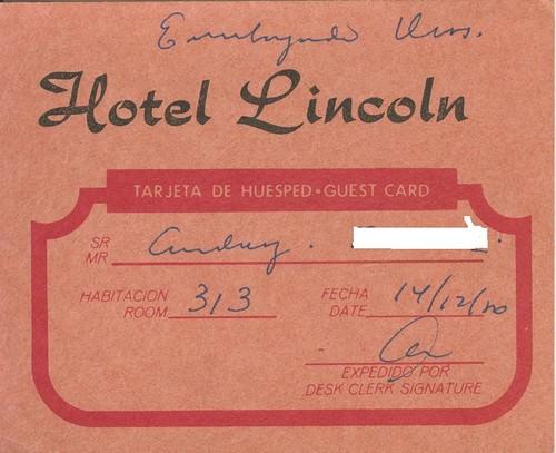 1984-1987. Гостевая карточка отеля «Линкольн»