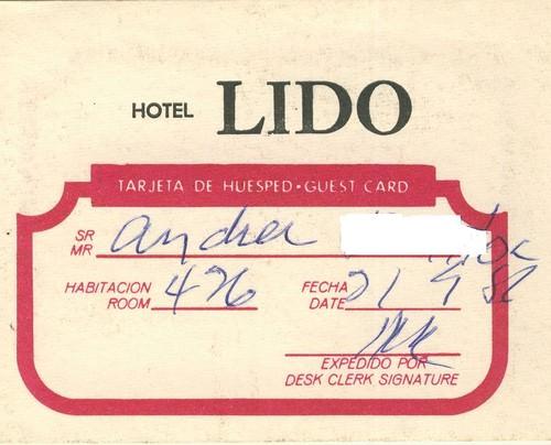 1987-04-24. Гостевая карточка отеля «Лидо»