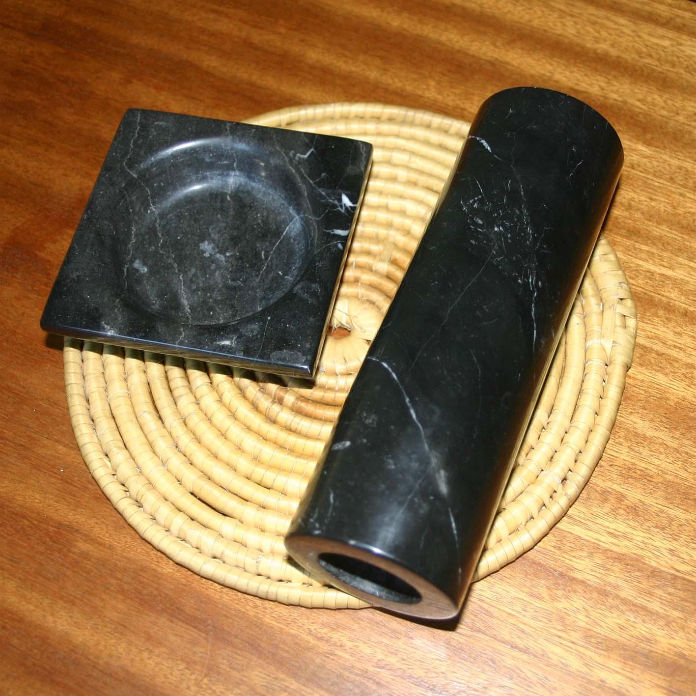 Ваза и подставка из черного мрамора, 70-е годы, фото 1