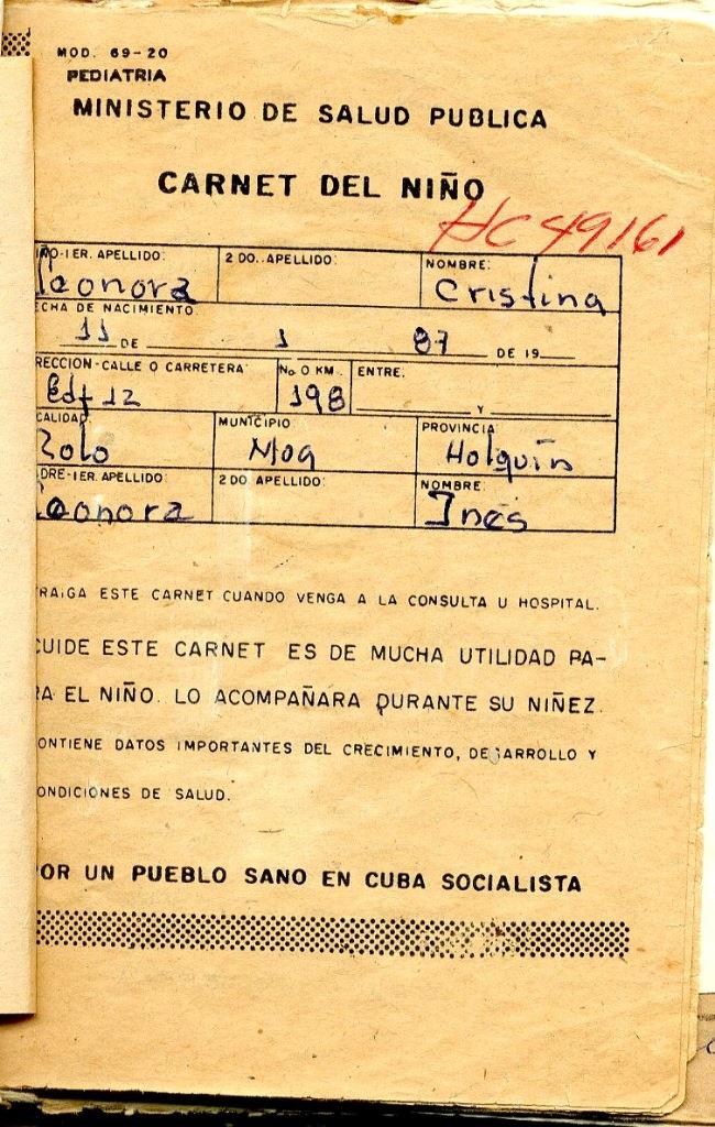 1987. Обложка медицинской карты, выданной в кубинской поликлиники Моа для Леоновой Кристины, рожденной на Кубе, в Моа.