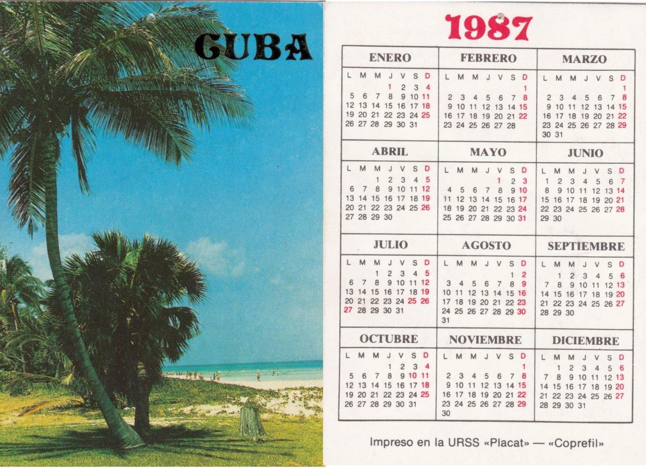 1987. Карманный календарик