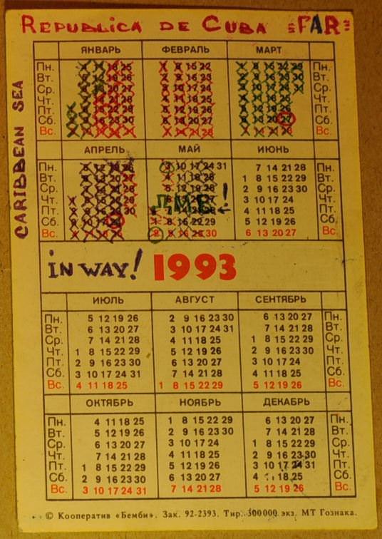 1993. Армейский календарик.