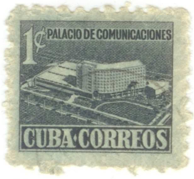 24. Марка почтовая. Дворец коммуникаций в Республике Куба. Поле серое. 1960-е гг. Республика Куба.