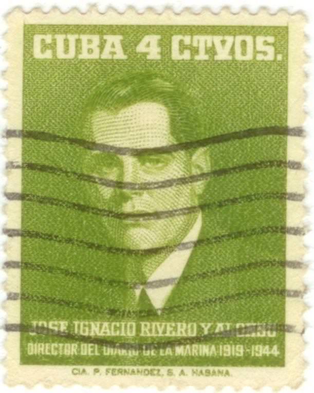 25. Марка почтовая. Хосе Игнасио Риверо Алонсо, директор ежедневной газеты Республики Куба. 1960-е гг. Республика Куба.