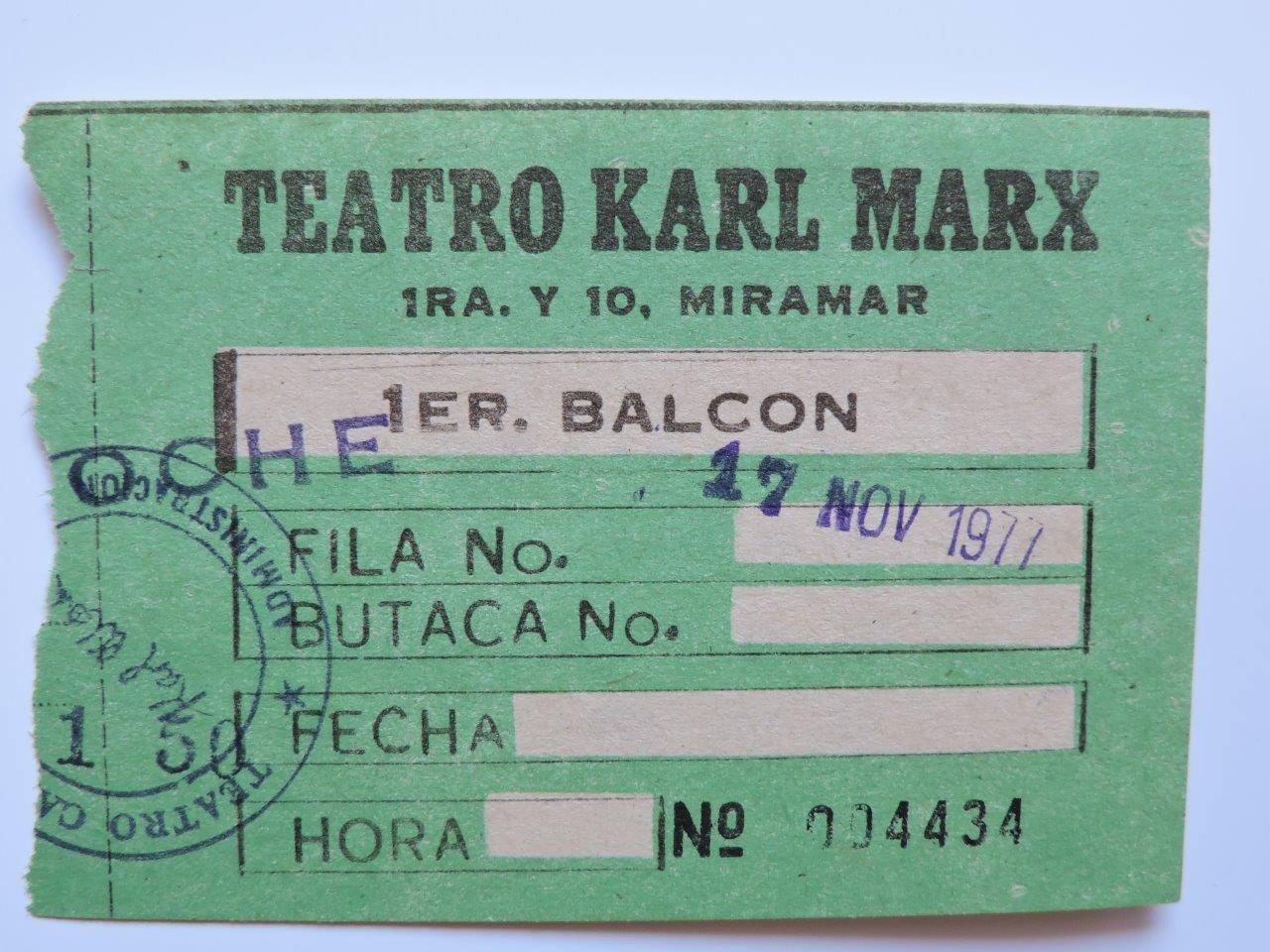 1977-11-17. Билет в большой концертный зал «Карл Маркс». В районе Мирамар, относительно недалеко от бывшего ГКЭС и гостиницы «Сьерра Маэстра».