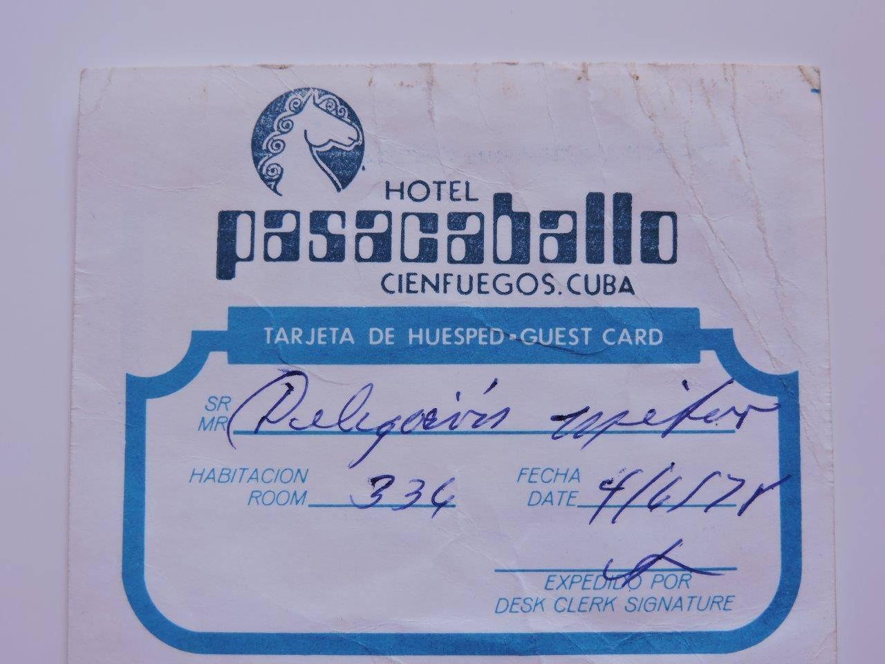 1977-1979. Карта гостя отеля «Pasacaballo», Сьенфуэгос