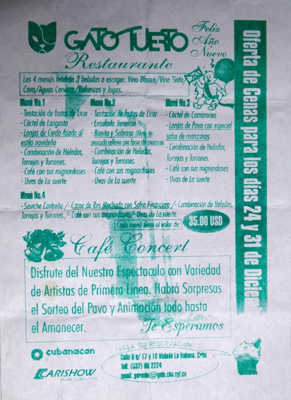 2001. Меню гаванского ресторана-бара Гато Туэрто (Одноглазый Кот) с предложением Рождественских и Новогодних посиделок (комплексных ужинов) за 35 зелёных.