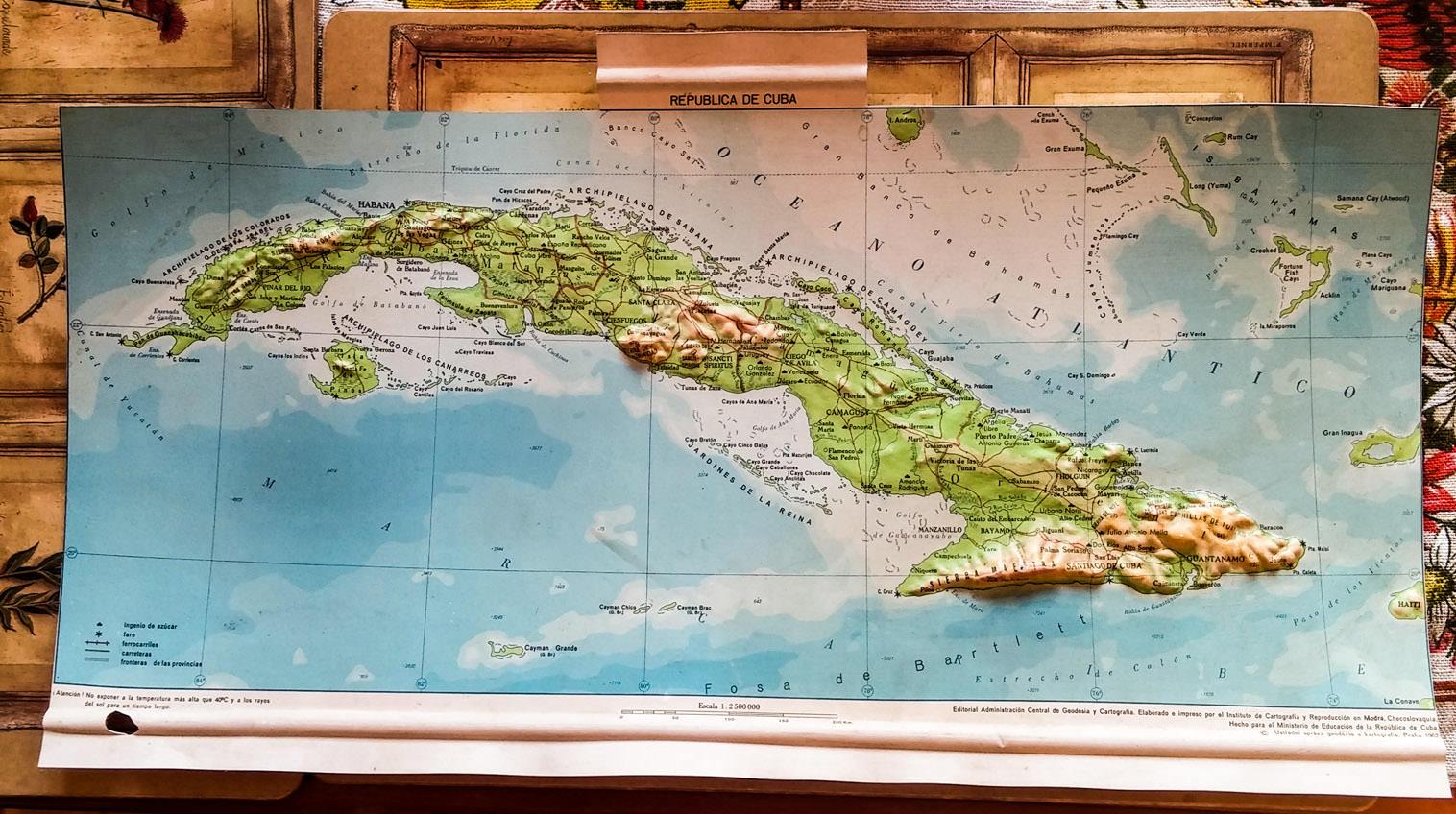496. 1962. Карта Кубы, сделана в Праге