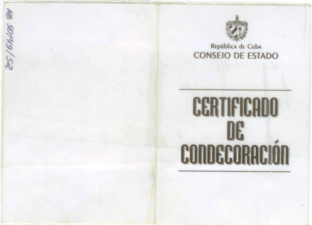 62. Удостоверение к медали «De La Amistad» («Дружба»)  Попова Геннадия Александровича