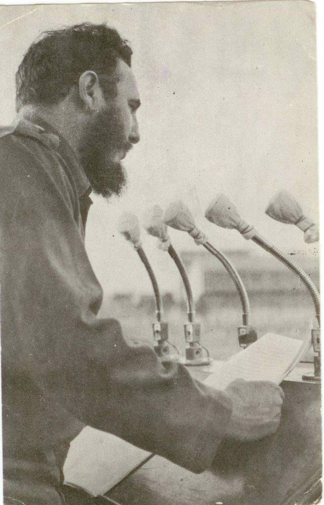 34. Фидель Кастро, премьер-министр Республики Куба, во время выступления. Республика Куба. 1959 г.