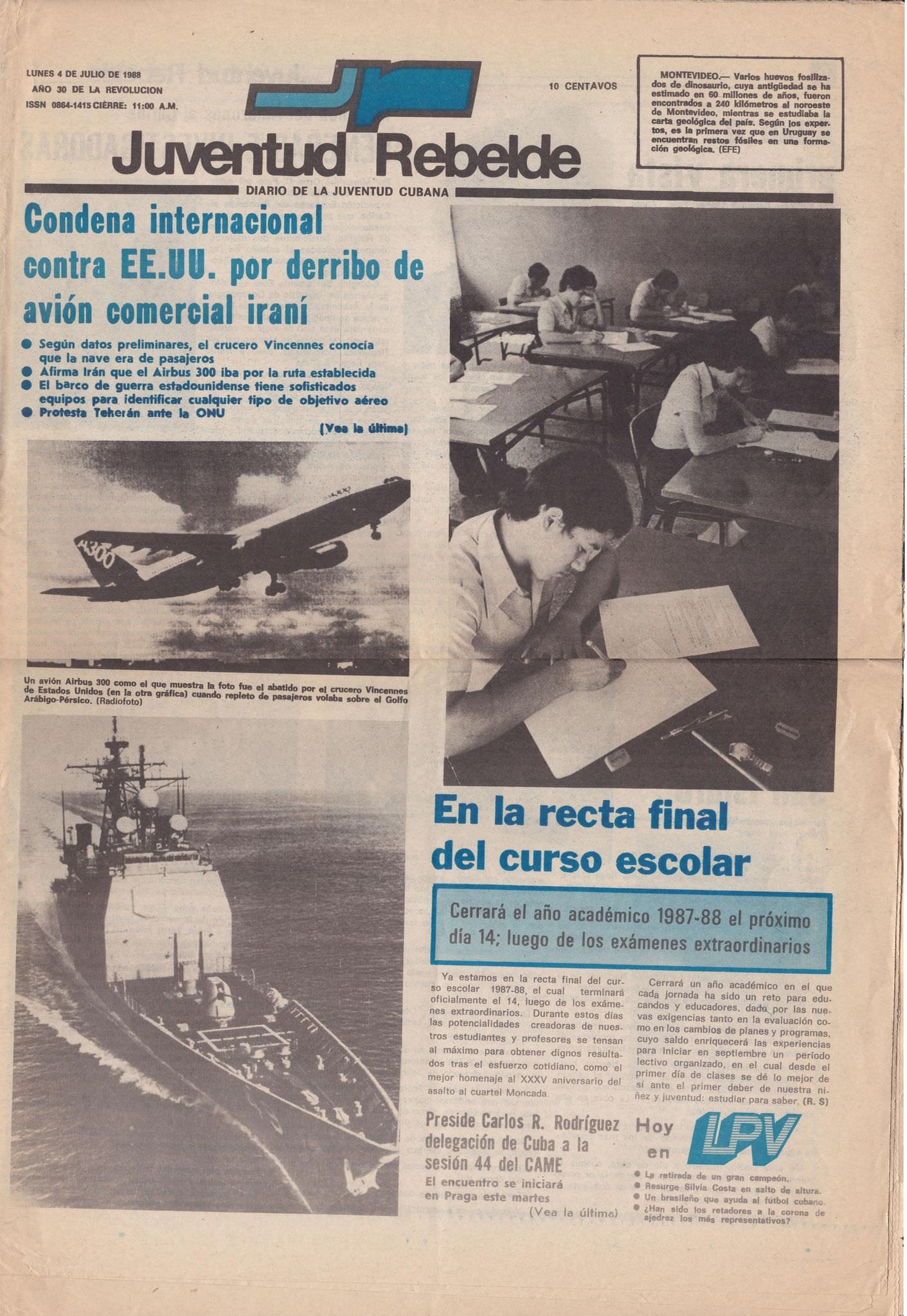 1988-07-04. Обложка газеты «Juventud Rebelde»