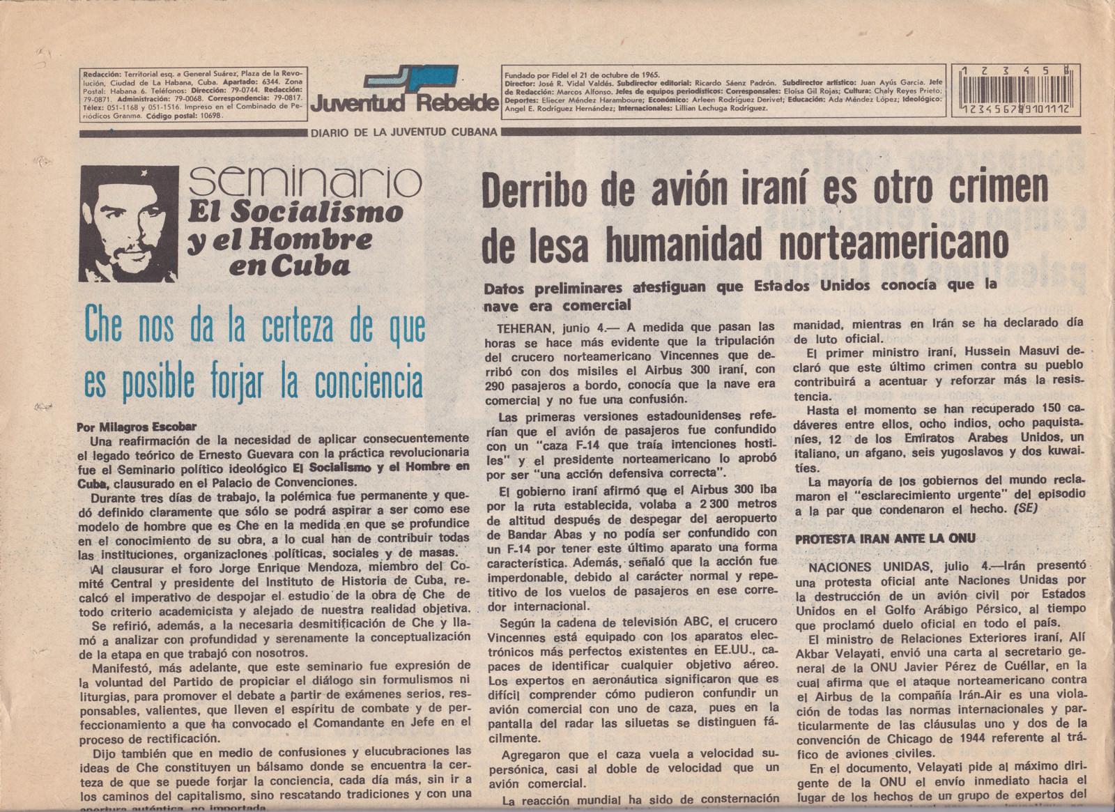 1988. Статья из газеты «Juventud Rebelde»