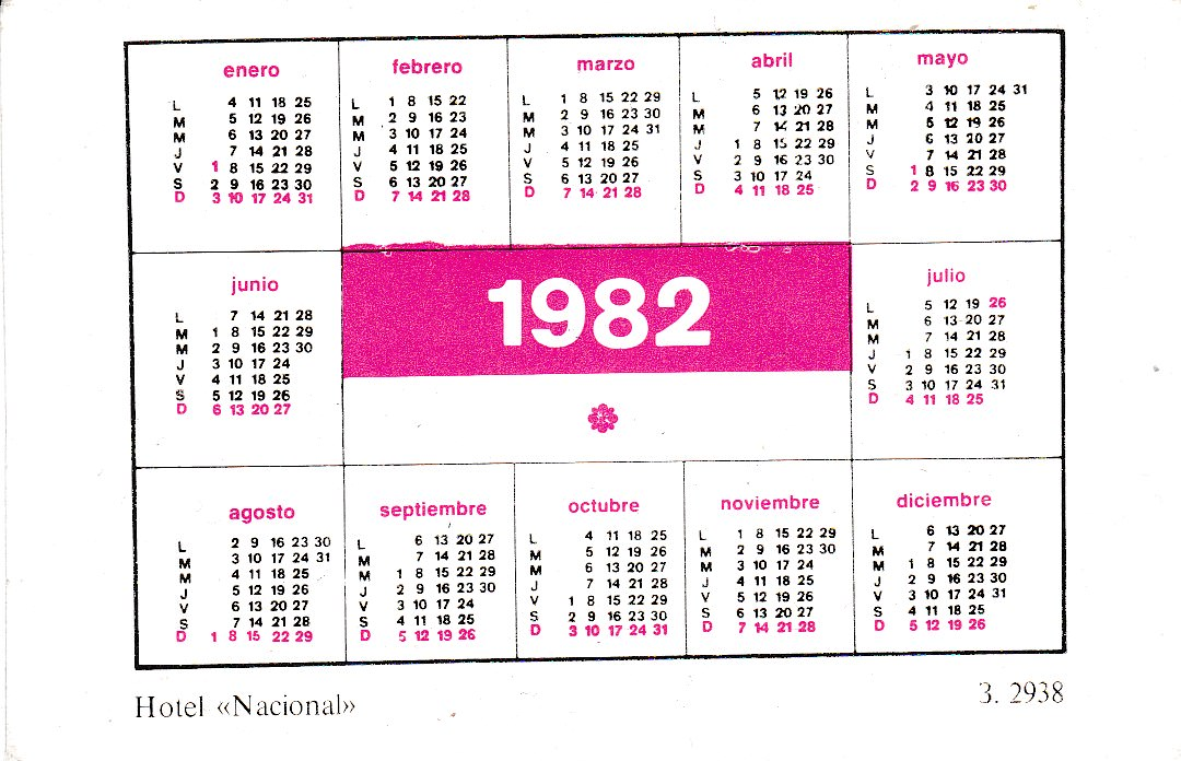 Календарик на 1982 год. Отель «Националь». Оборот.