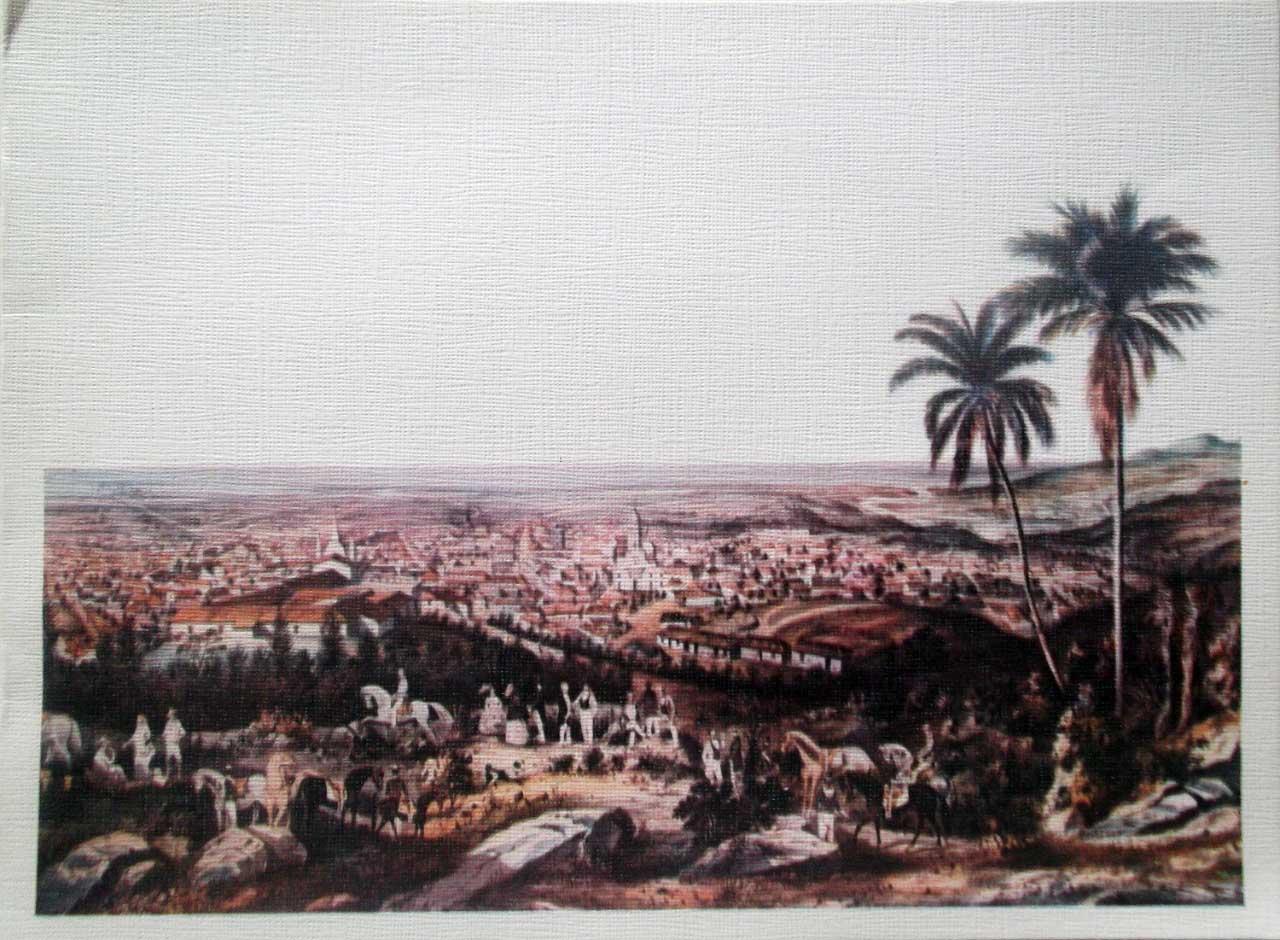 Тринидад, 19 век. Общий вид с холма. Литография Е. Лапланте; открытка 80-х годов.