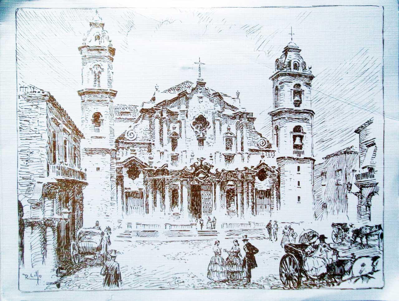 Кафедральная площадь, Гавана, гравюра. 18 век; открытка 80-х годов.
