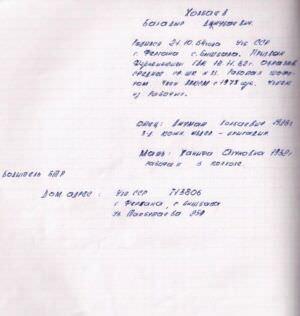 1983. Тетрадь командира взвода Вербалова Виктора Анатольевича, отдал своему замку Бабаяну на память. Составлял сам КВ. Лист 22