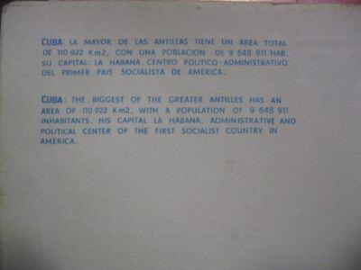 280. Открытка с картой Кубы. Оборот. Увеличенный текст.