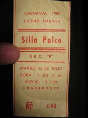 1989-07-25. Билет на карнавал в Гаване