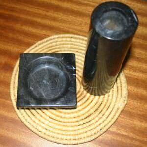 Ваза и подставка из черного мрамора, 70-е годы, фото 2