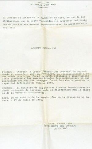 1986-07-19. Наградной приказ Фиделя Кастро.