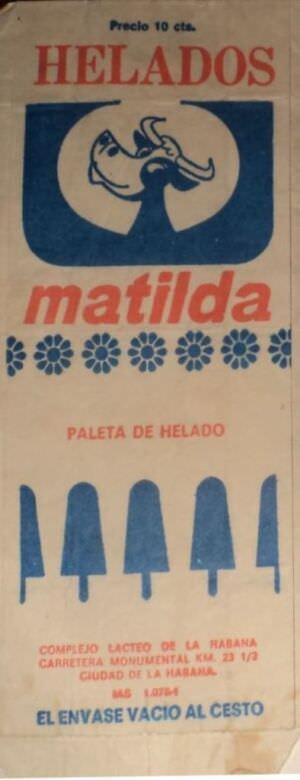 Этикетка от мороженого «Матильда»