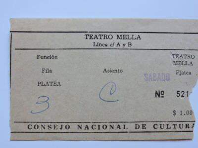 123. 1977-1979. Билет в театр «Мелья», центр Гаваны, район Ведадо