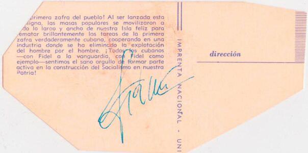 149. Фидель Кастро на сафре. Оборот.